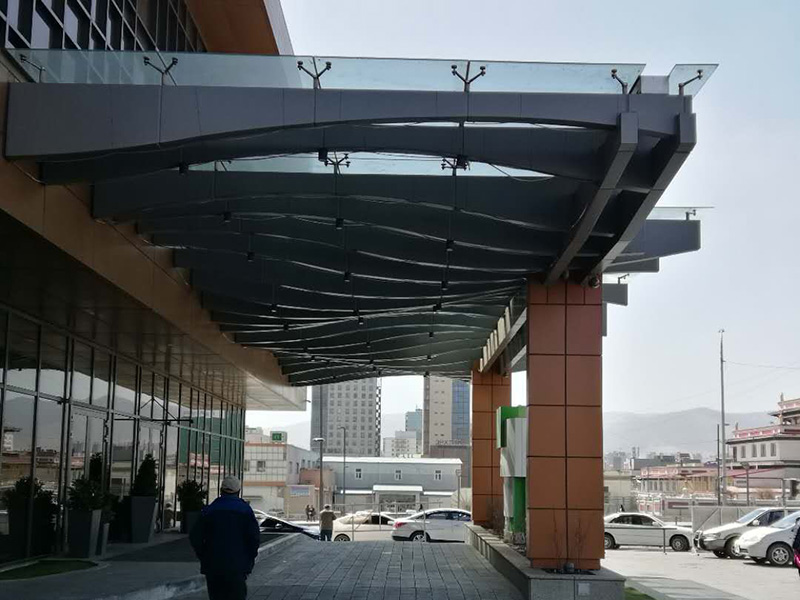 Mongolian Holiday Hotel steel structure glass canopy project